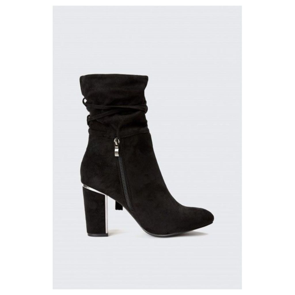 METAL HEEL ROUCHE ANKLE BOOTS