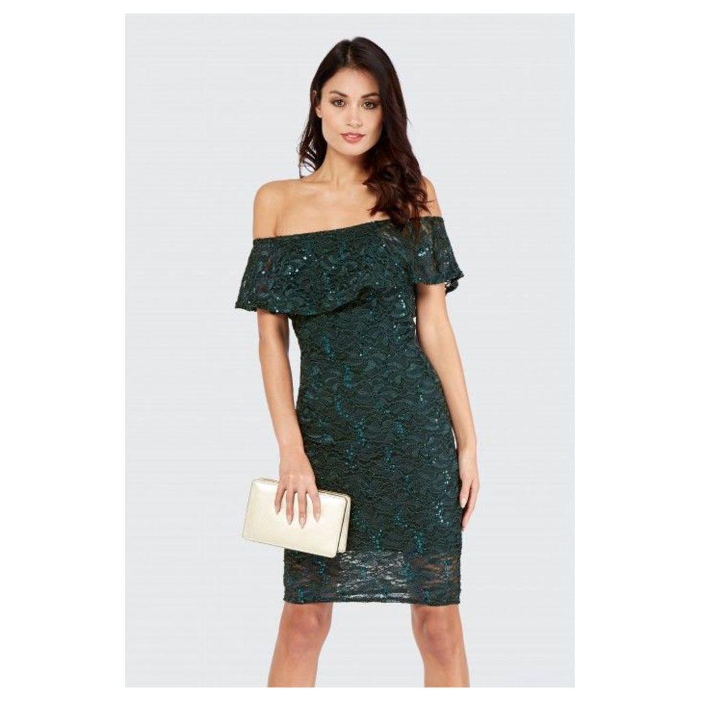 SEQUIN LACE BARDOT DRESS