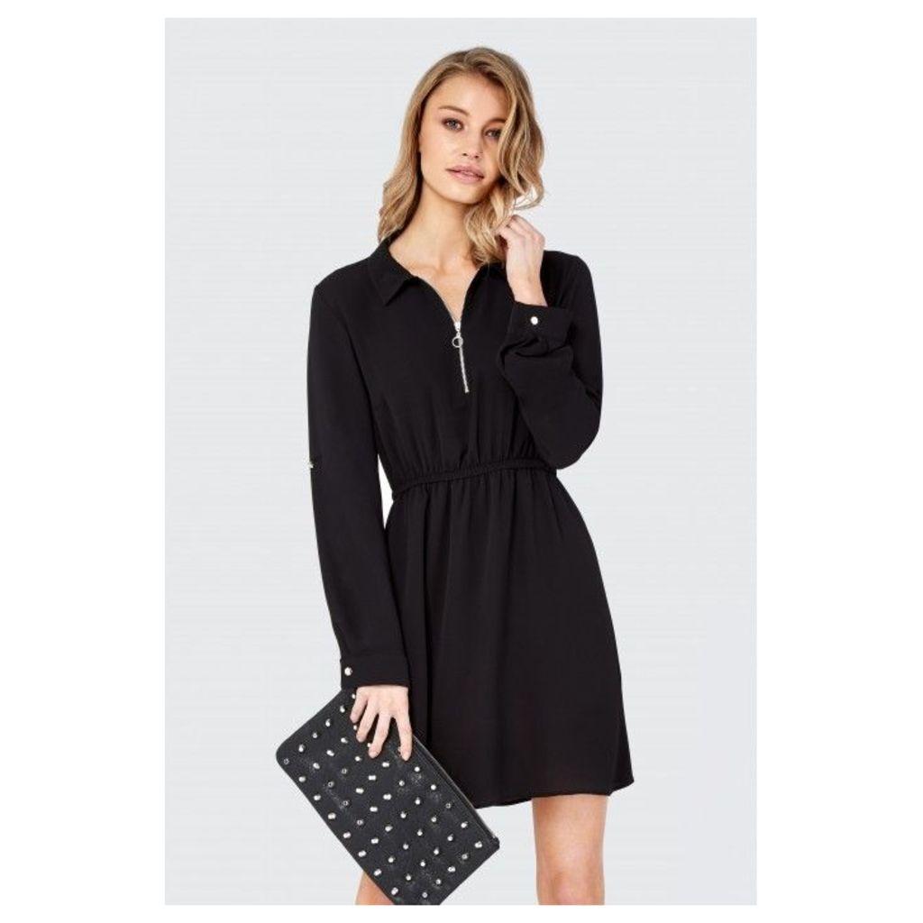 ZIP FRONT SHIRT DRESS