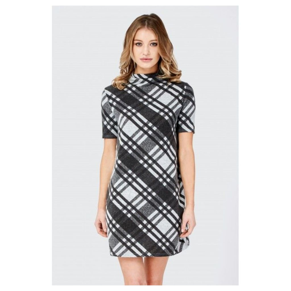DOUBLE CHECK BRUSHED SHIFT DRESS