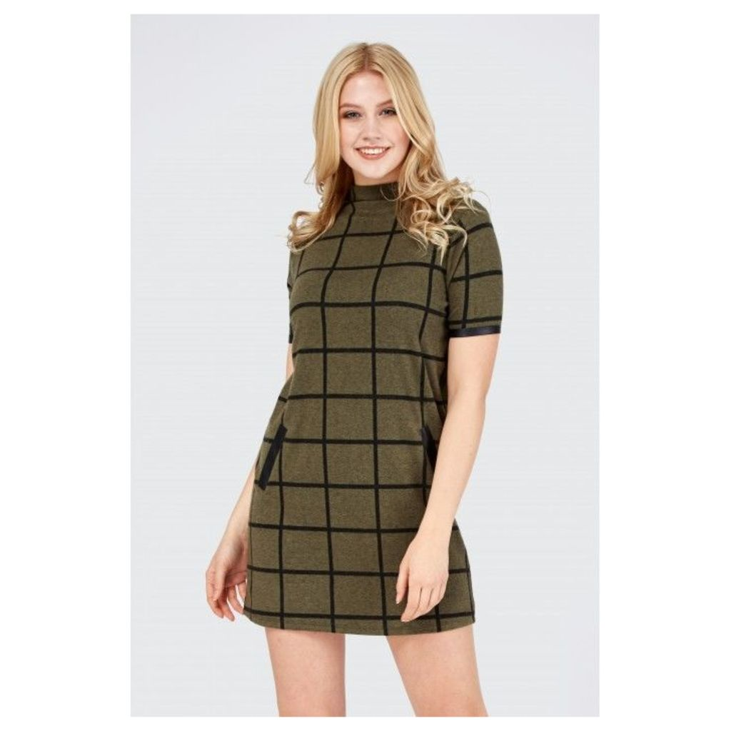 GRID CHECK PU BRUSHED SHIFT DRESS