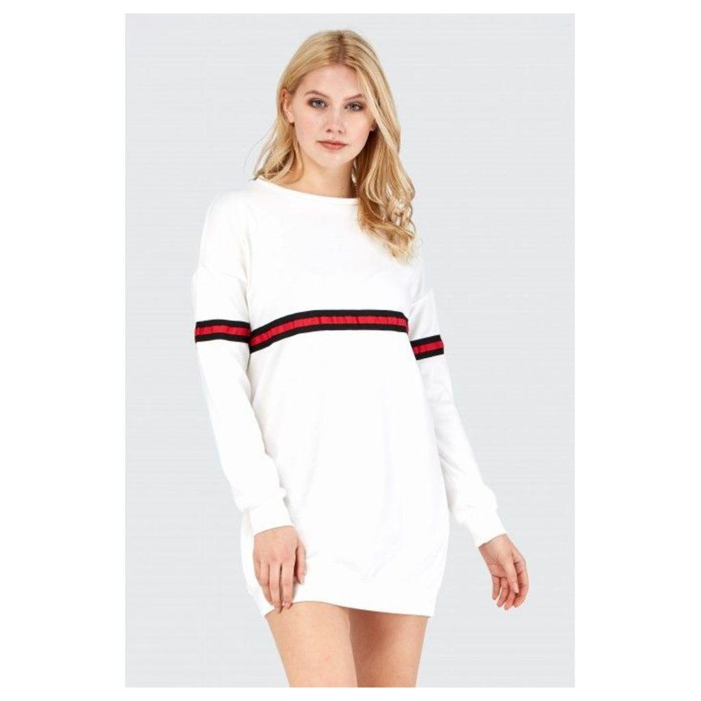 MULTI TAPE OVERSIZED SWEAT DRESS