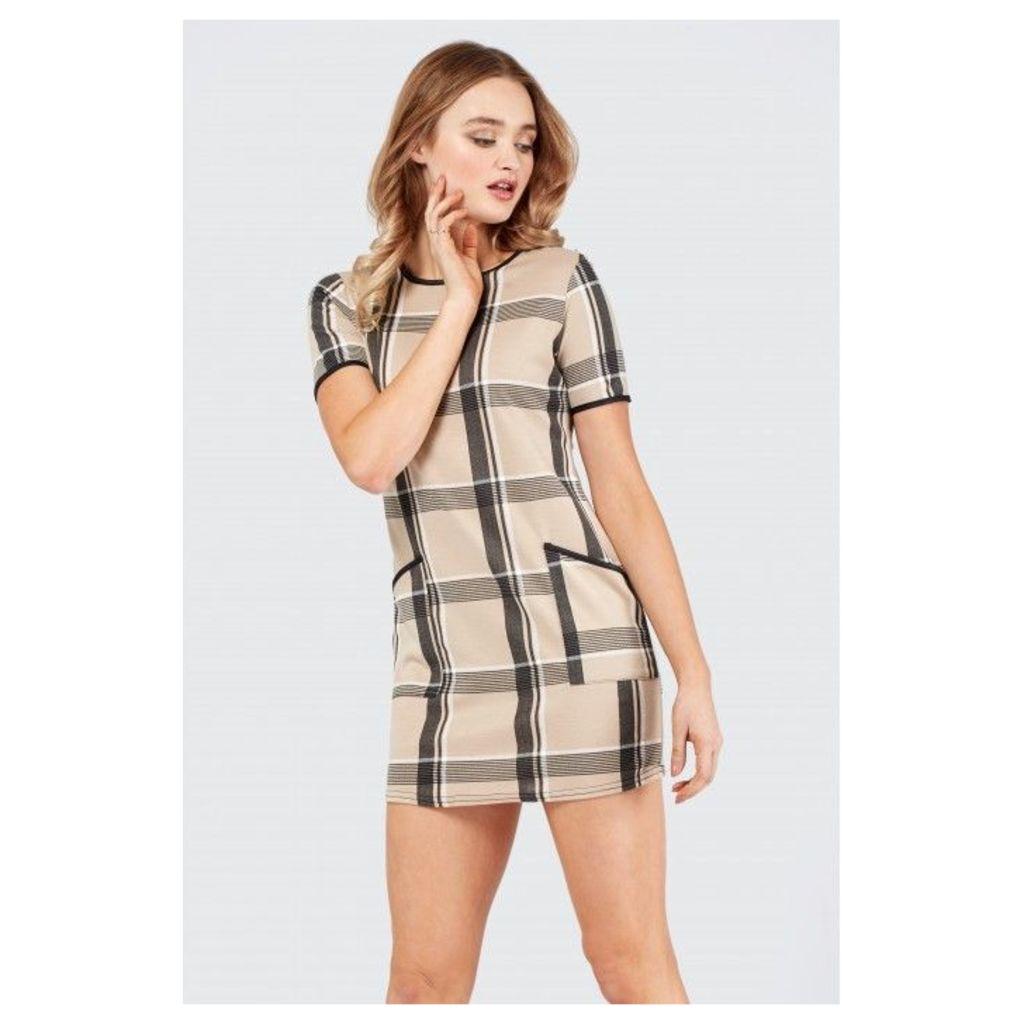 CHECK POCKET PU TRIM SHIFT DRESS