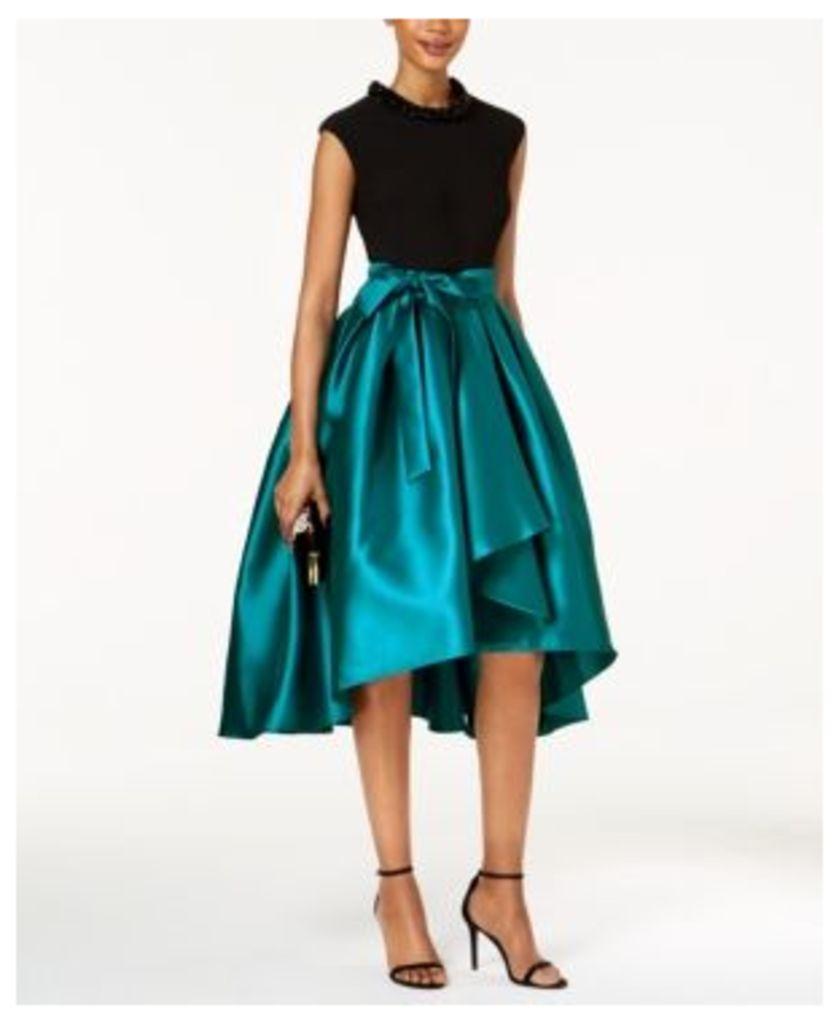 Sl Fashions Embellished-Collar Satin High-Low Dress