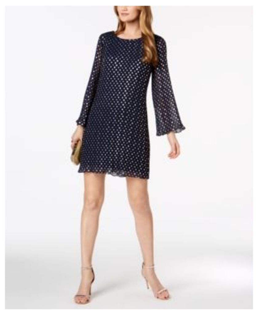 Msk Metallic-Polka-Dot Pleated Chiffon Dress