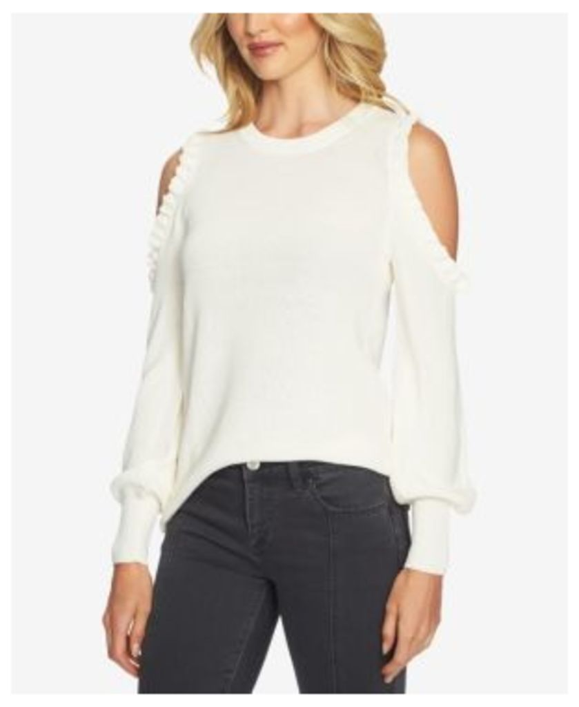 1.state Cotton Cold-Shoulder Bubble-Sleeve Sweater