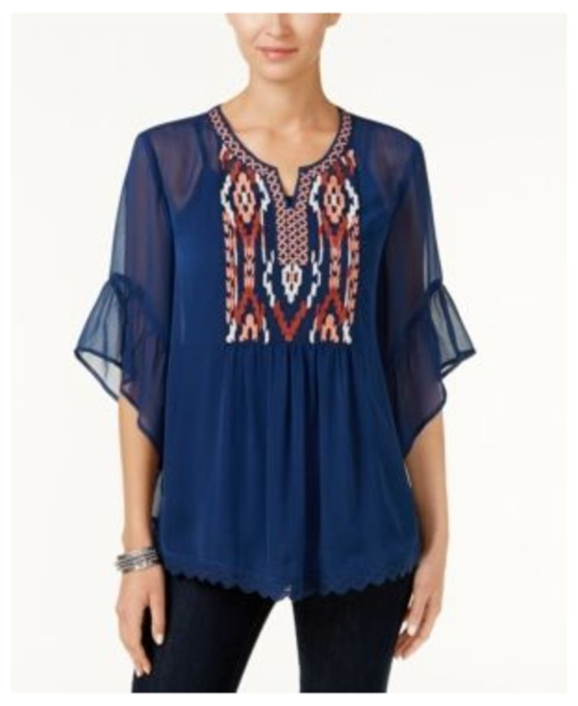 Style & Co Embroidered Sheer Top, Created for Macy's