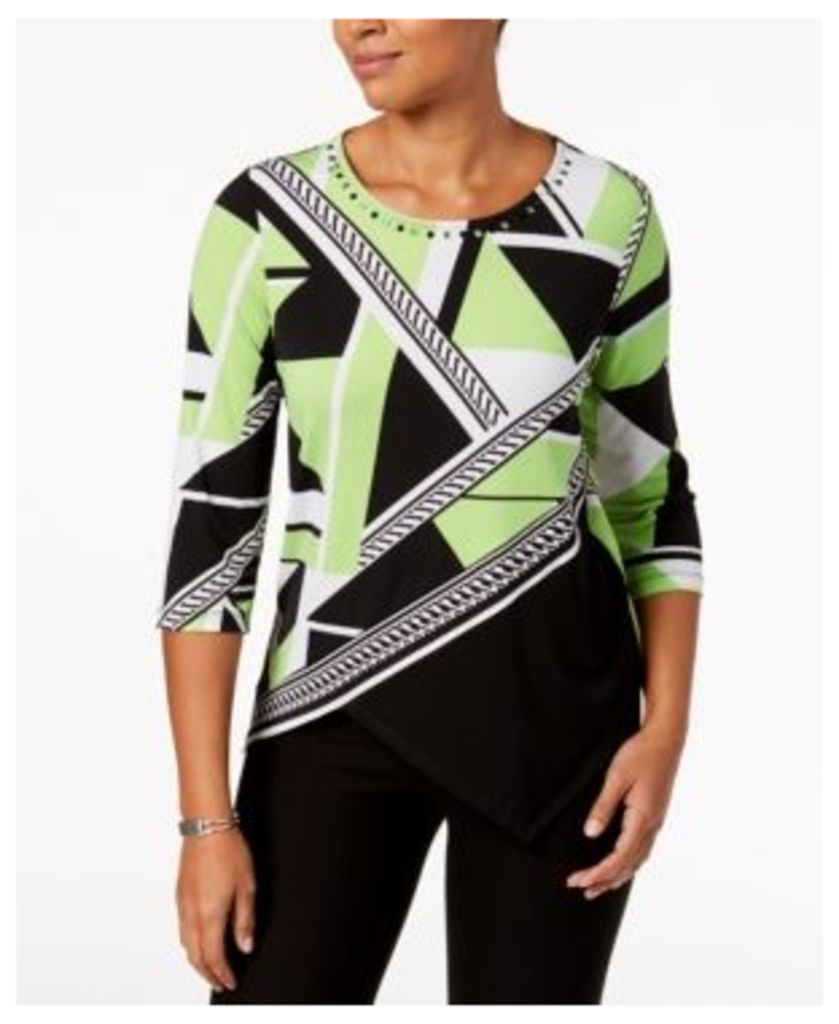Alfred Dunner In The Limelight Printed Rhinestone-Embellished Top