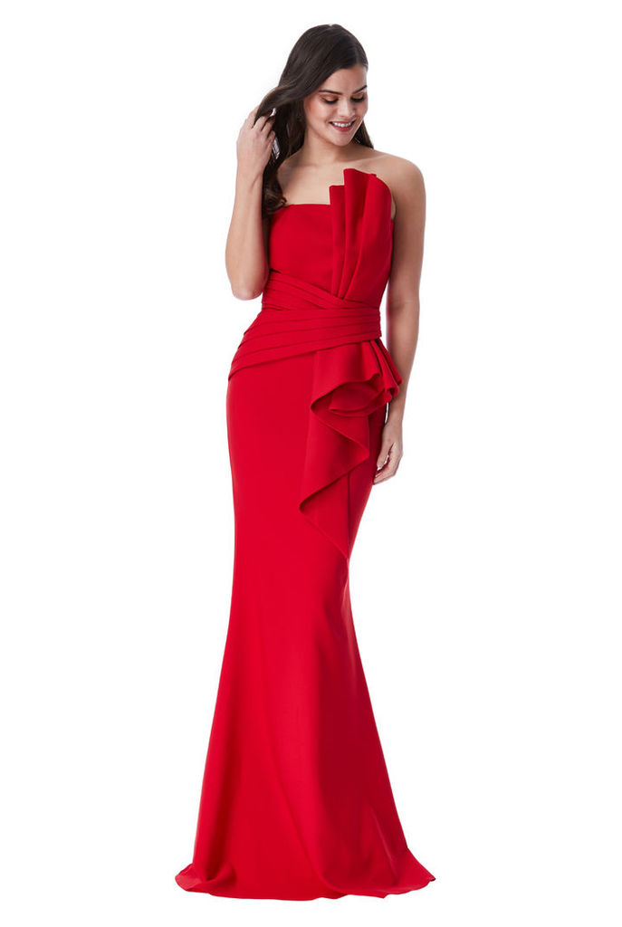 Strapless Front Bow Maxi Dress - Red