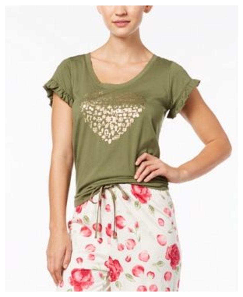 Hue Heart-Graphic Ruffled-Sleeve Pajama Top