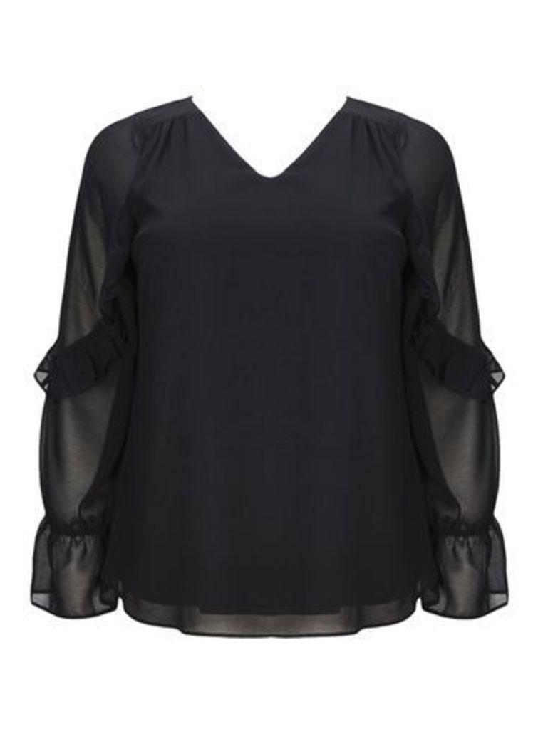 Chiffon Frill Sleeve Top, Black