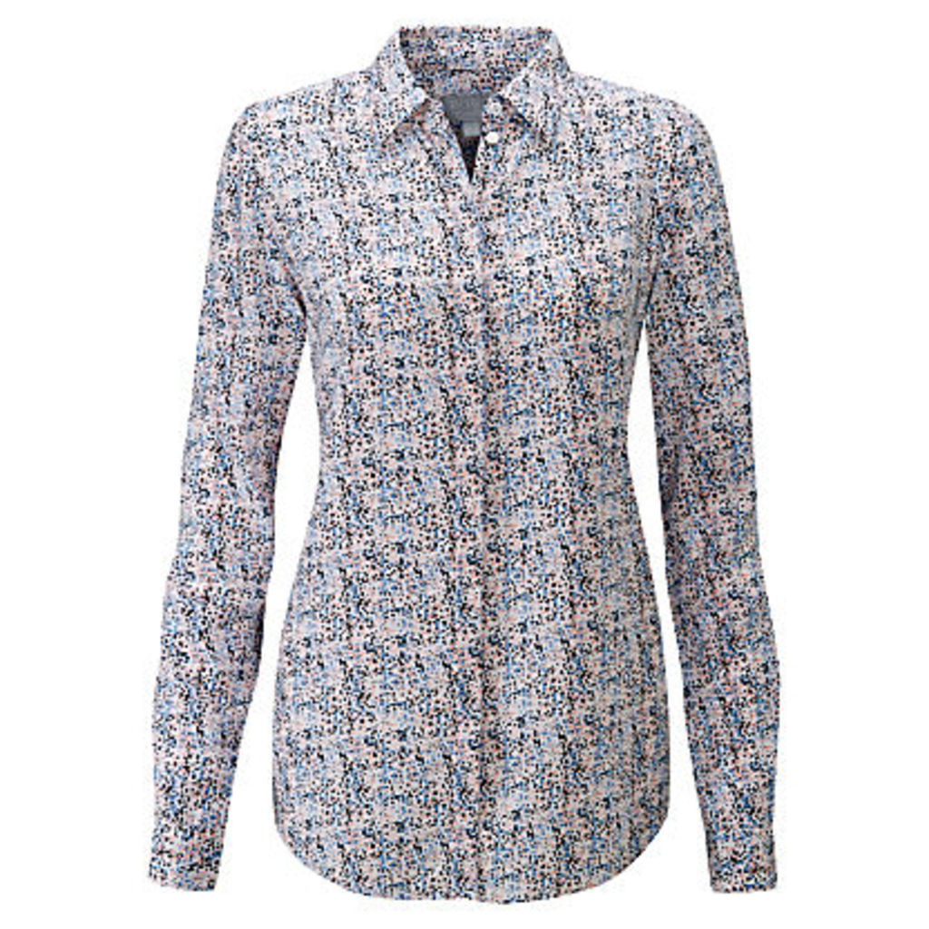 Pure Collection Abstract Ditsy Print Silk Shirt, Multi