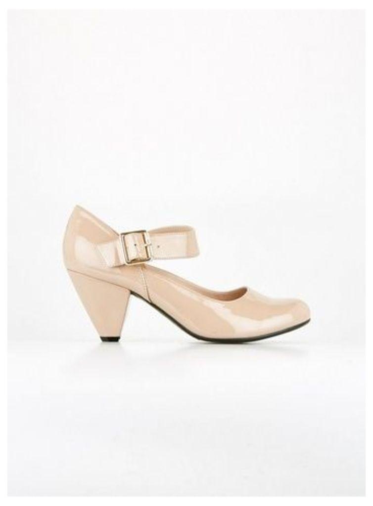 Nude Cone Heel Shoes, Nude