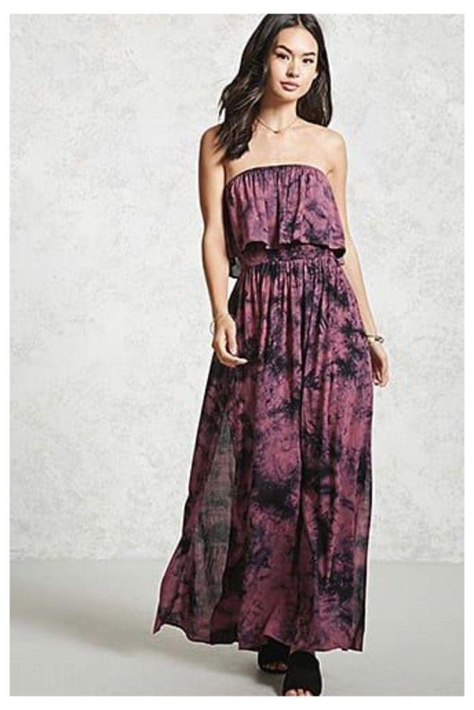 Tie-Dye Flounce Maxi Dress