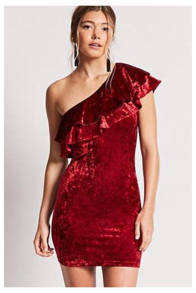 Crushed Velvet One-Shoulder Dress