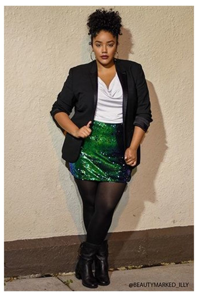 Plus Size Iridescent Sequin Mini Skirt