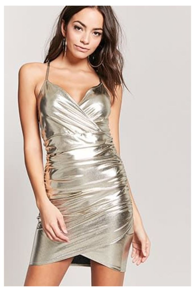 Metallic Ruched Surplice Dress