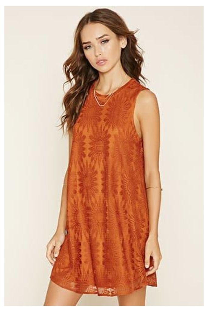 Crocheted-Lace Mini Dress