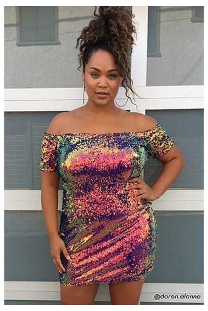 Plus Size Sequin Off-the-Shoulder Dress