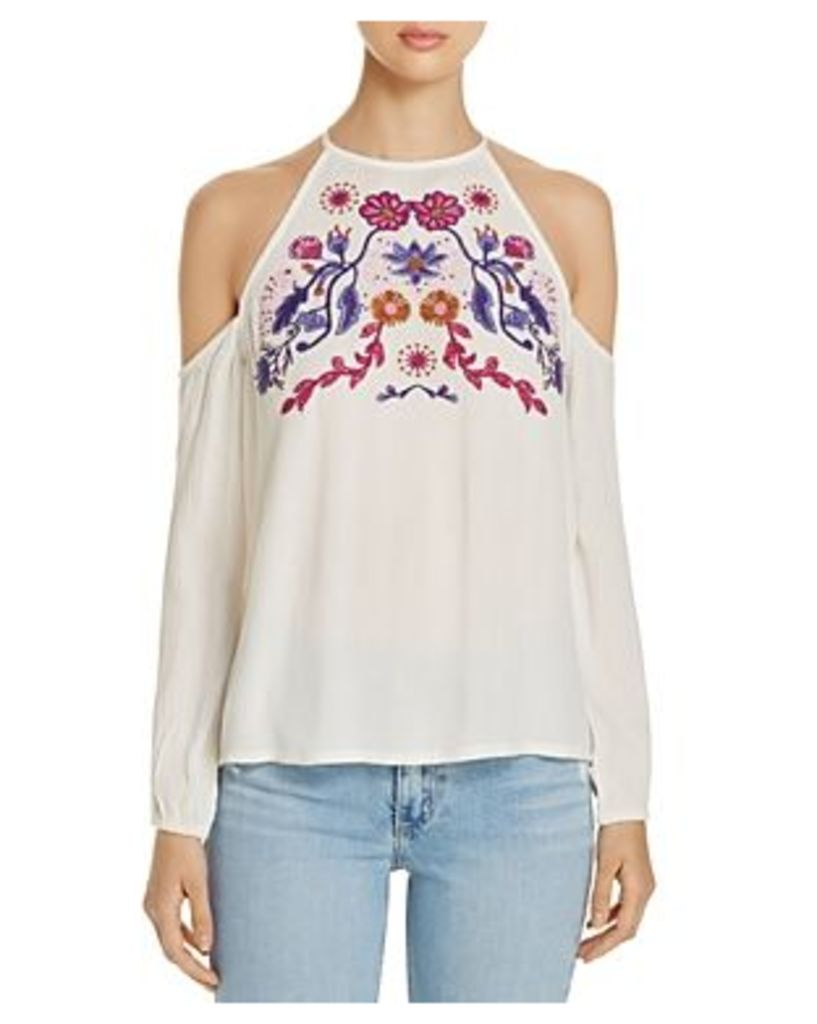Jachs Girlfriend Cold Shoulder Embroidered Top