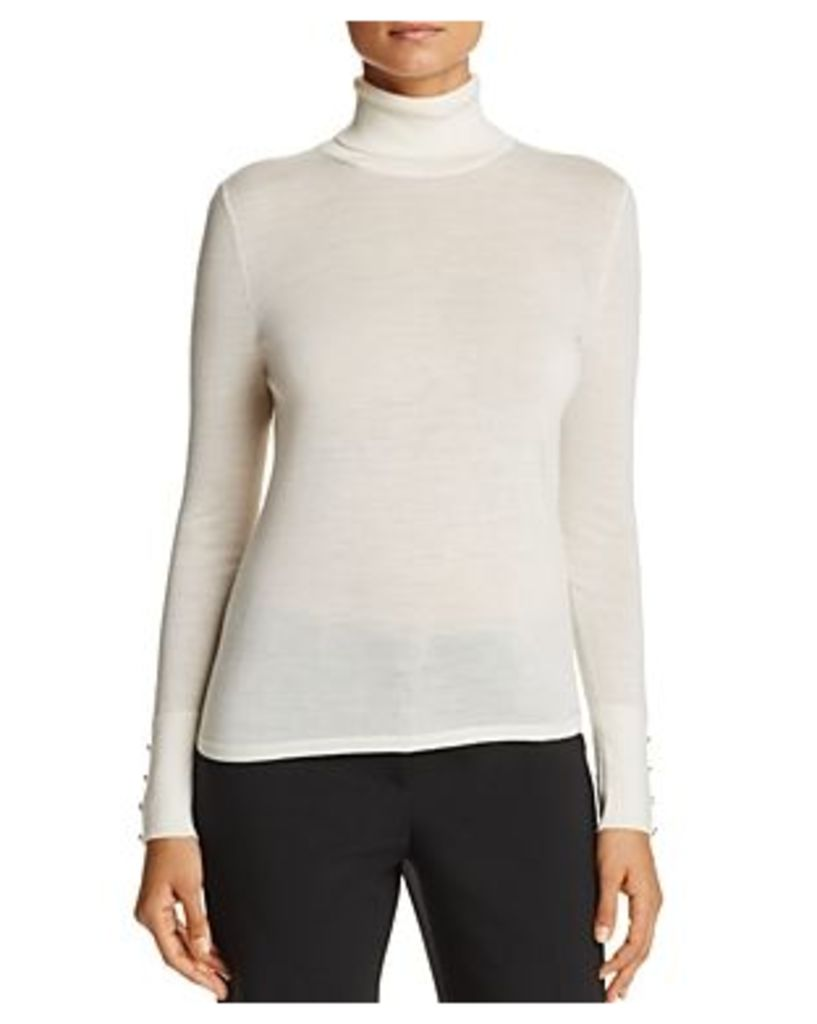 Boss Farrella Button Cuff Wool Turtleneck Sweater