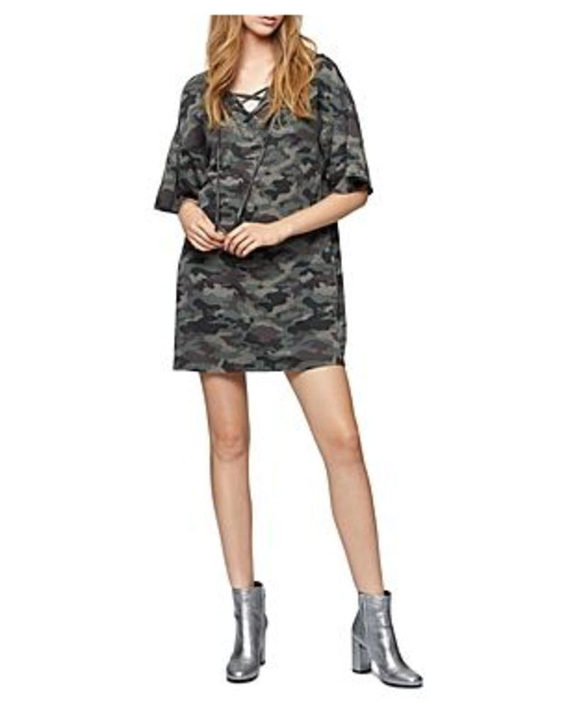 Sanctuary Mariska Lace-Up Camo Sweatshirt Dress