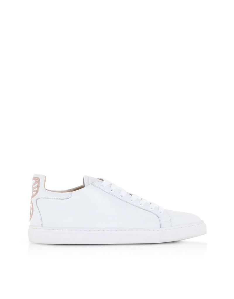 Sophia Webster Shoes, Bibi White and Baby Pink Low Top Sneakers