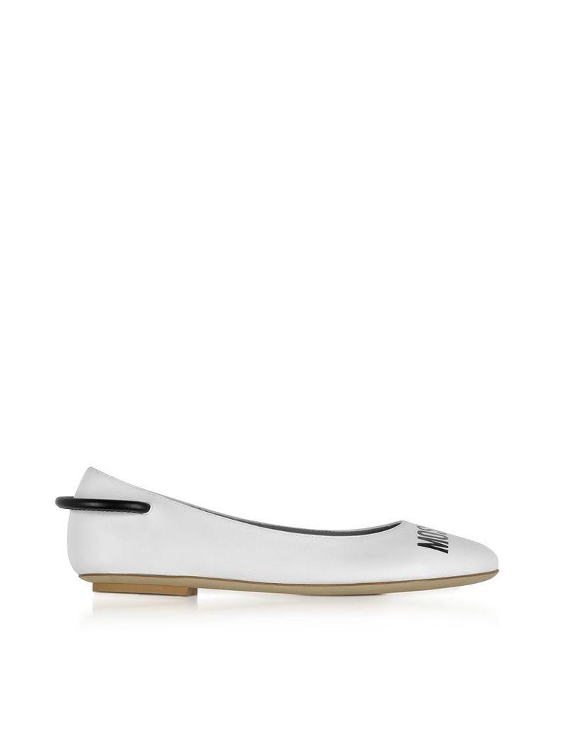 Moschino Shoes, White Nappa Leather Signature Ballerina