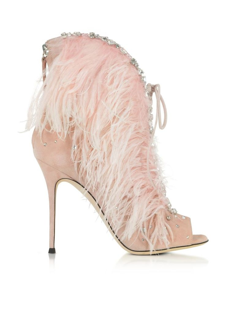 Giuseppe Zanotti Shoes, Charleston Pink Suede and Feathers High Heel Sandals