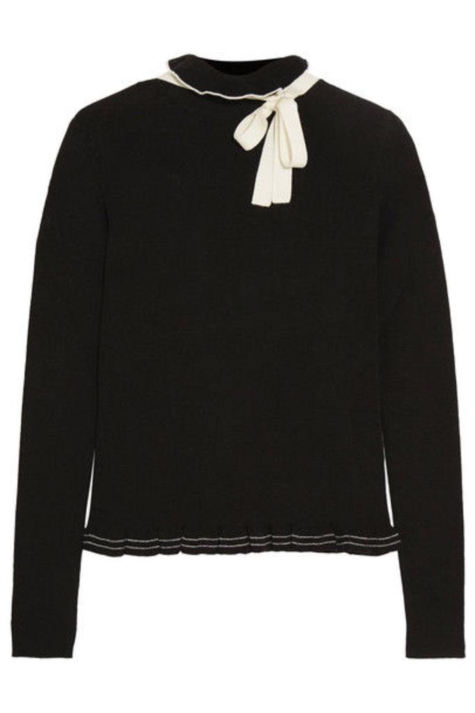 REDValentino - Ruffled Bow-embellished Wool Sweater - Black