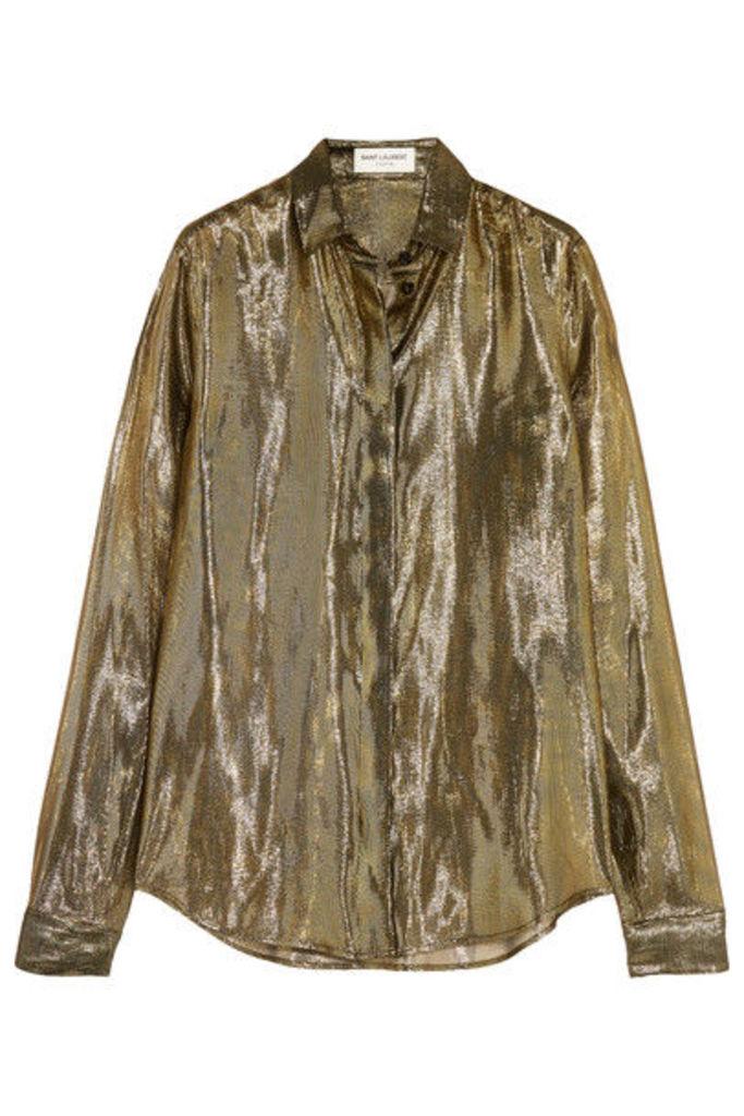 Saint Laurent - Metallic Silk-blend Lamé Shirt - Gold