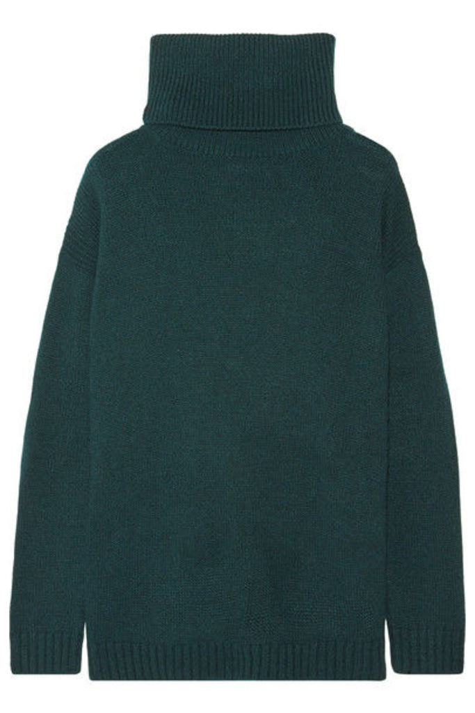 Prada - Suede-trimmed Wool And Cashmere-blend Turtleneck Sweater - Forest green