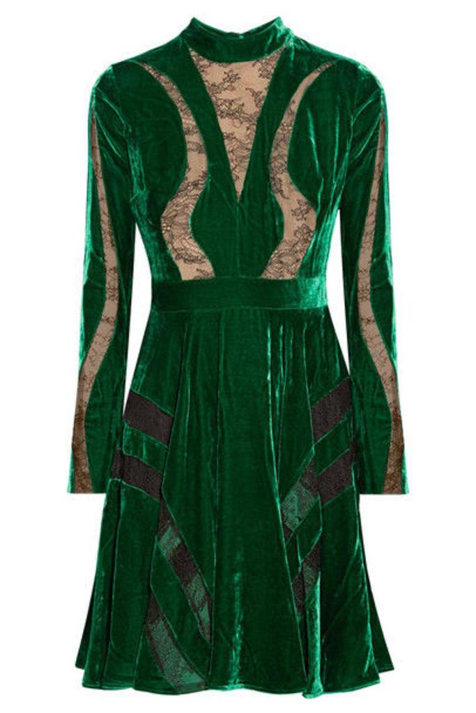 Elie Saab - Lace-paneled Crushed-velvet Dress - Forest green