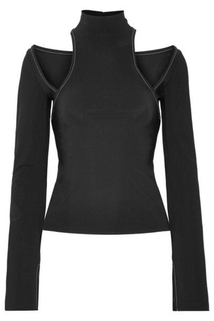 Beaufille - Momus Cutout Stretch-jersey Turtleneck Top - Black
