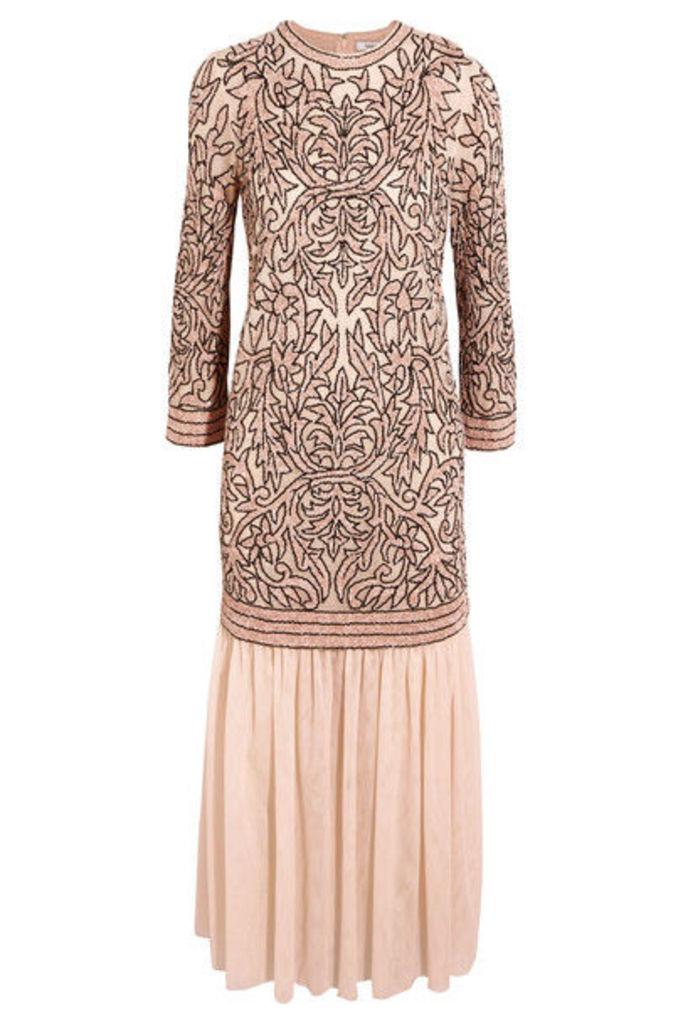 GANNI - Layered Sequined Tulle Maxi Dress - Blush
