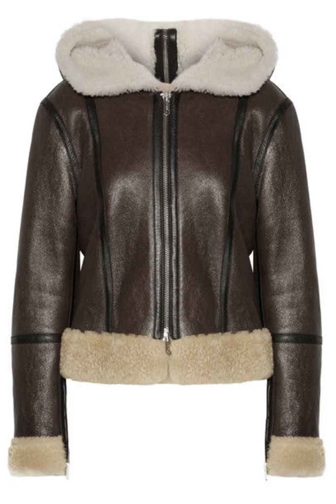 CALVIN KLEIN 205W39NYC - Hooded Leather-trimmed Shearling Biker Jacket - Brown