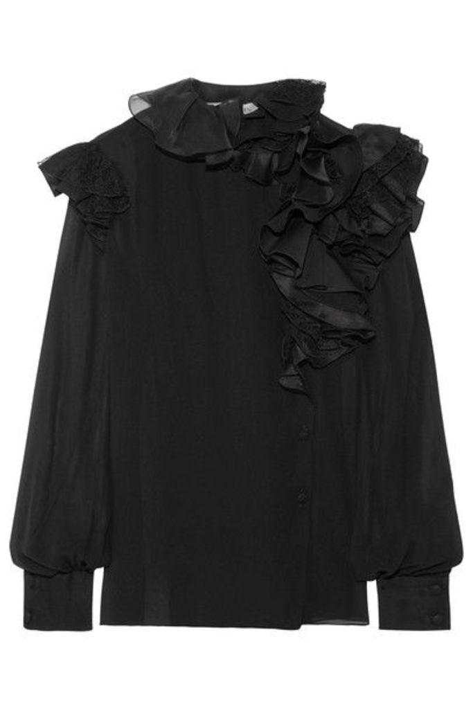 Lanvin - Ruffled Lace-trimmed Silk-chiffon Blouse - Black