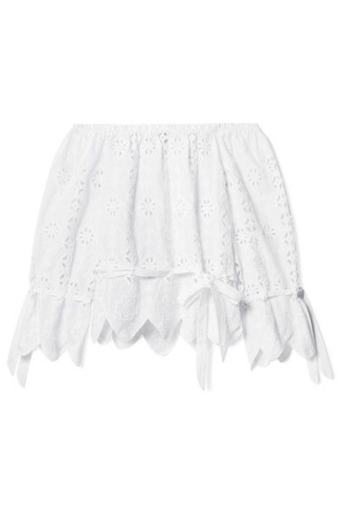 Miguelina - Aurelia Off-the-shoulder Scalloped Broderie Anglaise Cotton Top - White