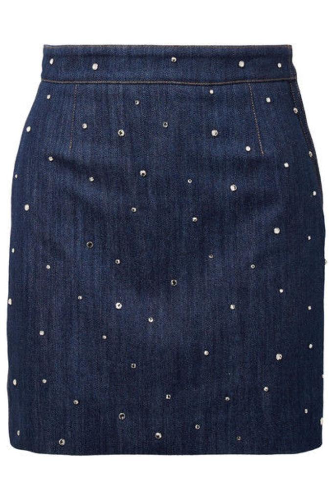 Miu Miu - Crystal-embellished Denim Mini Skirt - Mid denim