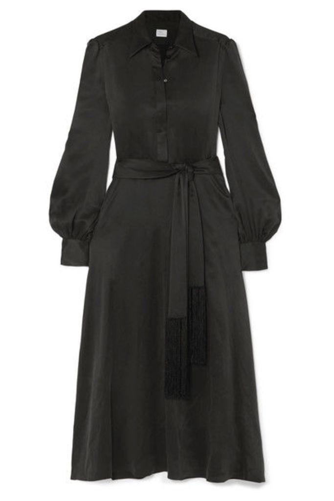 Hillier Bartley - Fringed Washed-silk Midi Dress - Black
