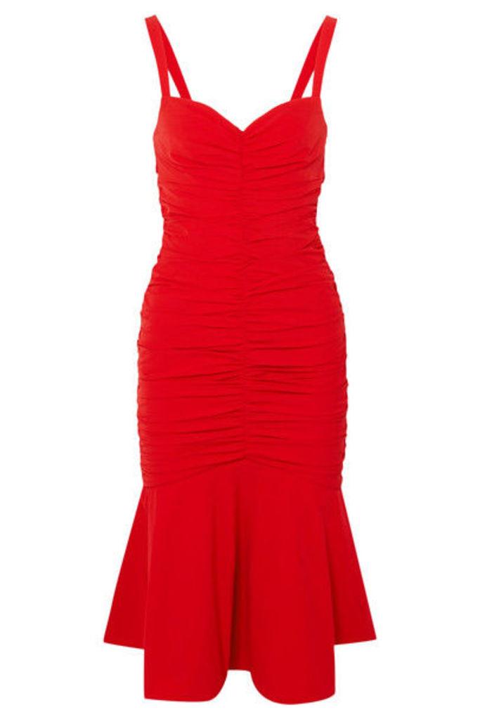 Rebecca Vallance - Brescia Ruched Poplin Midi Dress - Red