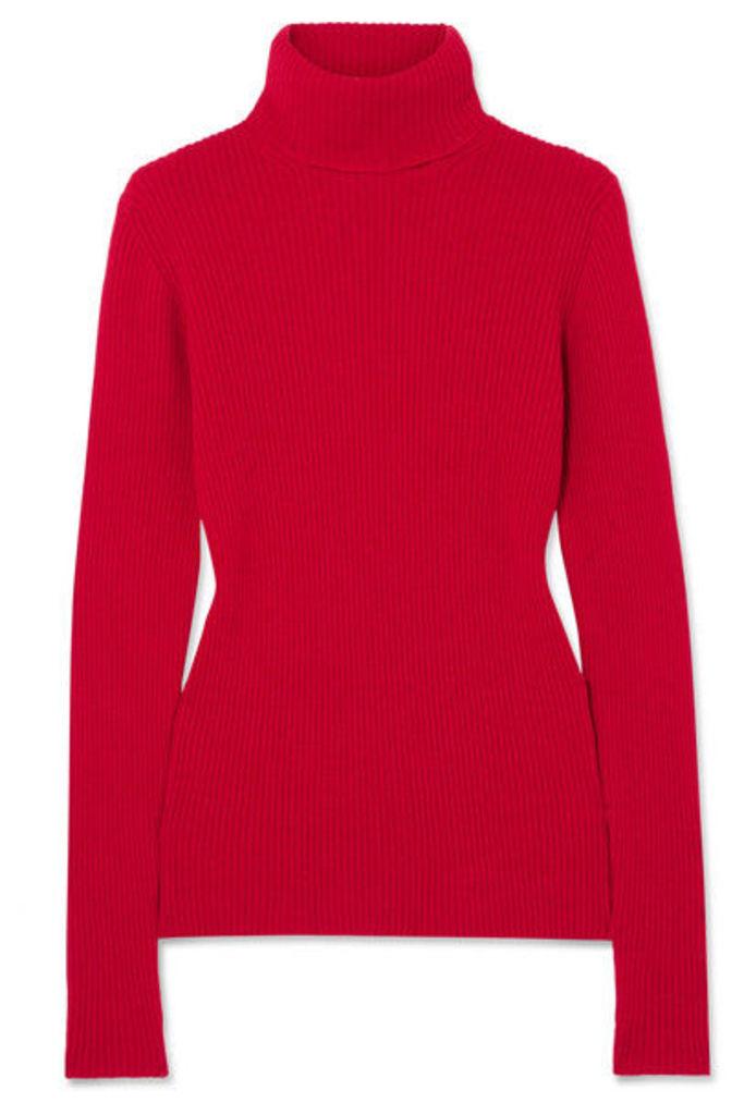 Hillier Bartley - Ribbed-knit Cashmere Turtleneck Sweater - Crimson