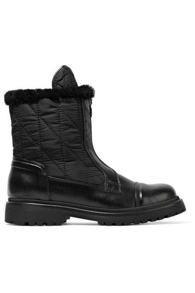 Moncler - Alexandra Shearling-trimmed Shell And Leather Ankle Boots - Black