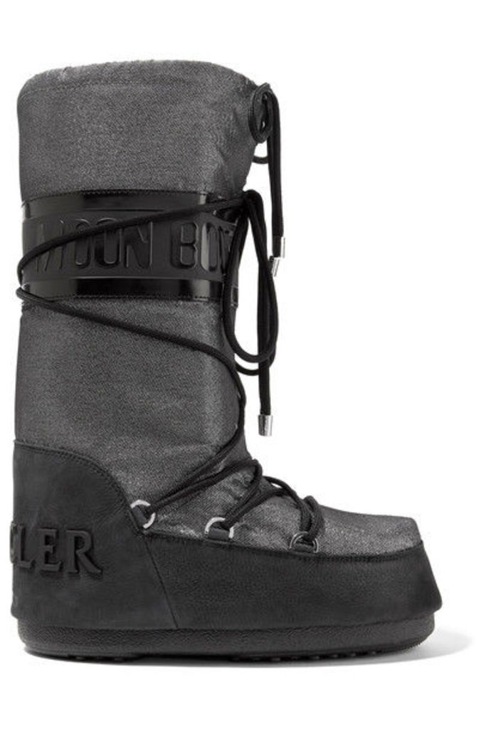 Moncler - + Moon Boot Saturne Metallic Shell And Nubuck Snow Boots - Silver
