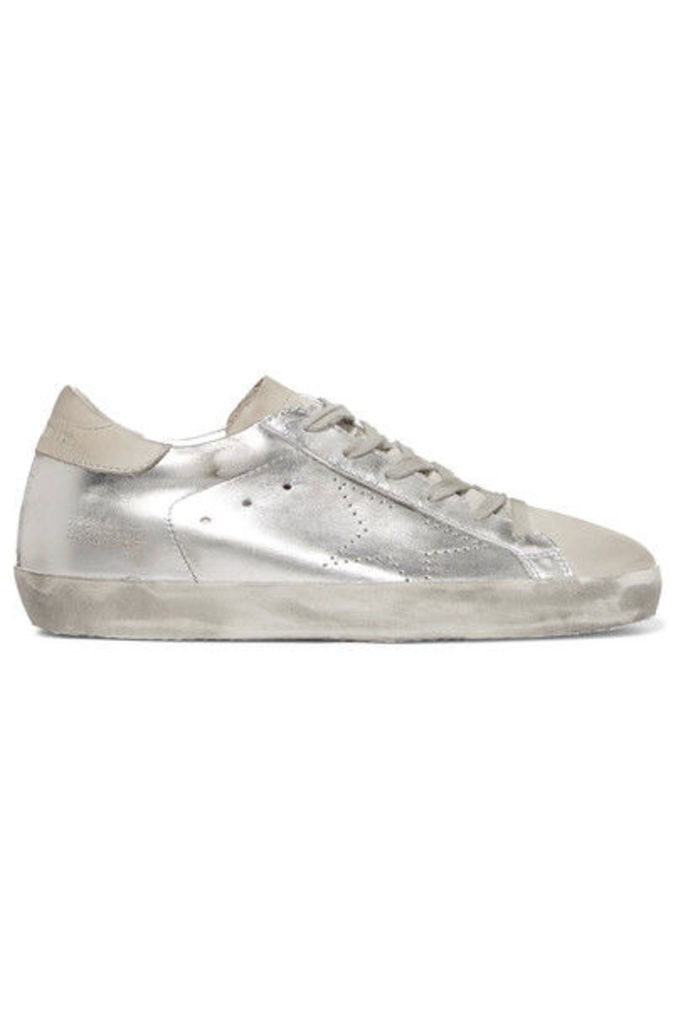 Golden Goose Deluxe Brand - Superstar Distressed Metallic Leather And Suede Sneakers - Silver