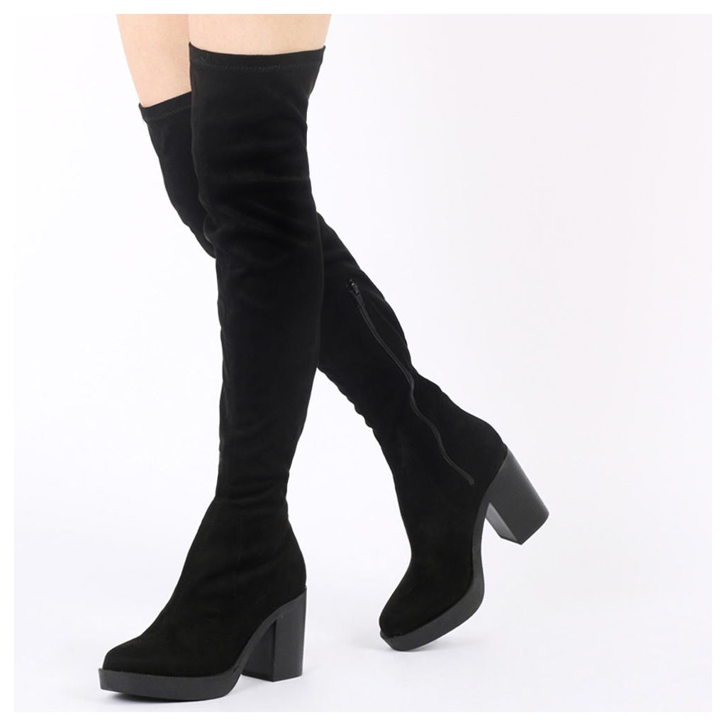 Mylie Over The Knee Boots  Faux Suede, Black