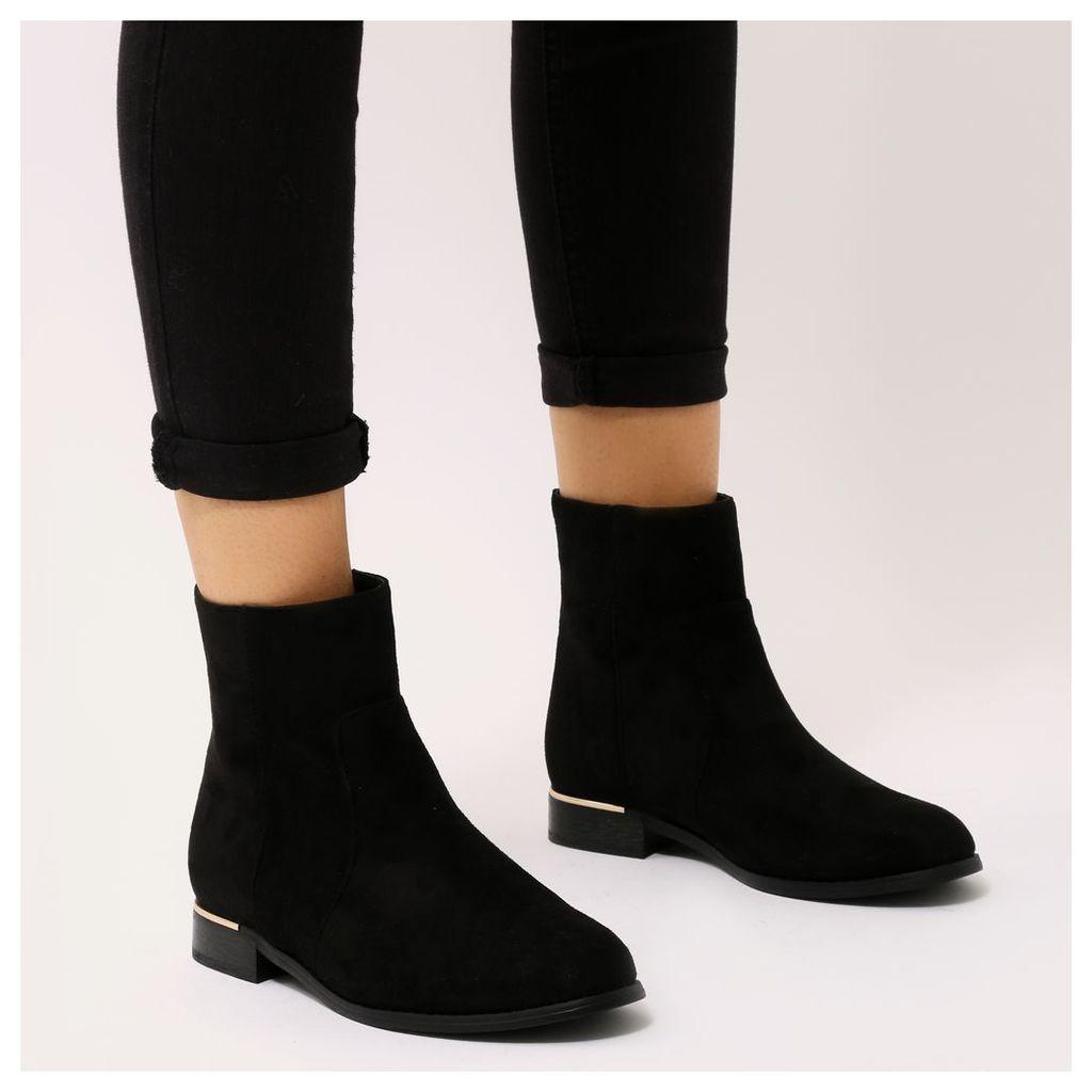 Louise Gold Trim Flat Ankle Boots  Faux Suede, Black