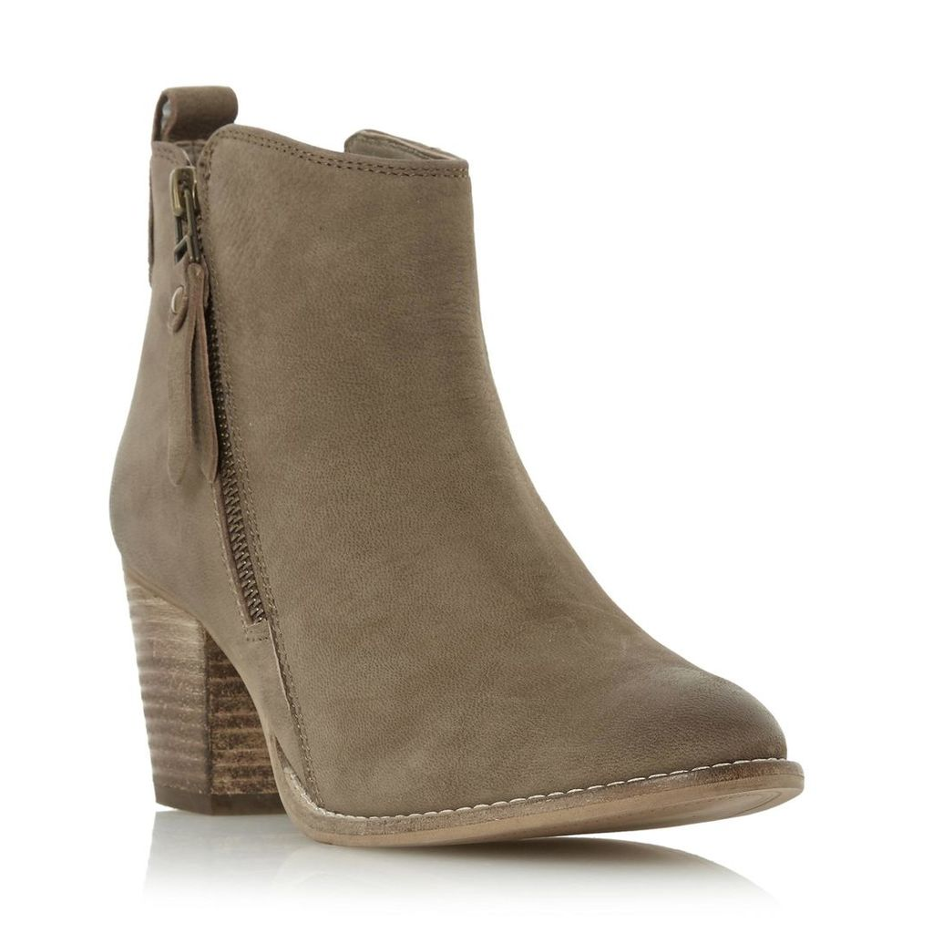 Pontoon Stacked Heel Side Zip Ankle Boot