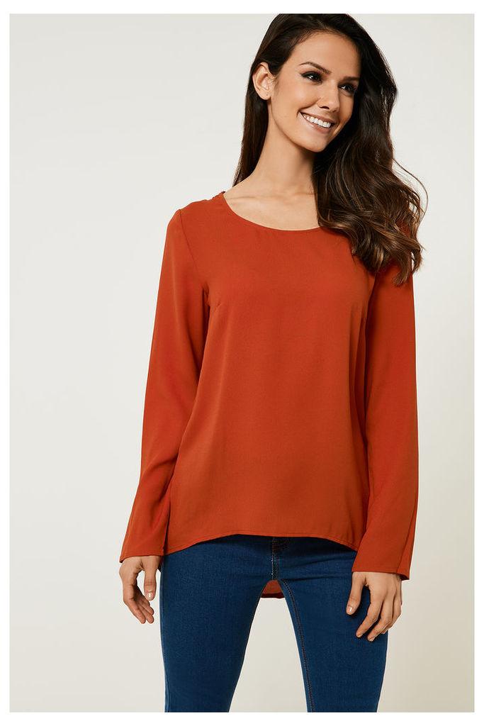 Vila Tesa Long Sleeved Top - Orange