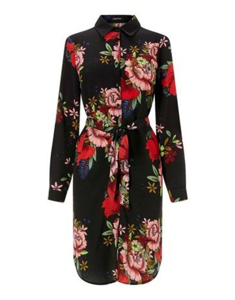 Boohoo Floral Shirt Dress With Belt